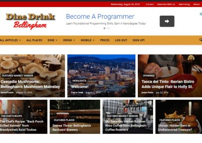 Website – DineDrinkBellingham, Primary Tool, WordPress